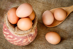 Fresh raw eggs in clay pot Stock Images