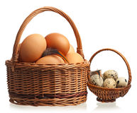 Fresh raw eggs. Raw eggs in the wicker baskets isolated on white background Royalty Free Stock Photos