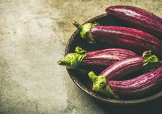 Fresh raw Fall harvest purple eggplants, copy space. Fresh raw Fall harvest purple eggplants or aubergines in wooden bowl over grey concrete stone background Royalty Free Stock Image