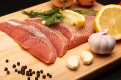 Fresh raw fillet of salmon. Royalty Free Stock Image