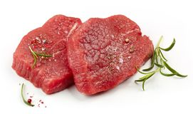 Fresh raw fillet steaks. Isolated on white background Royalty Free Stock Image