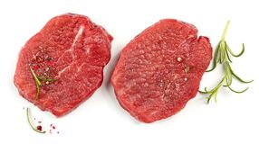 Fresh raw fillet steaks. Isolated on white background, top view Royalty Free Stock Photos