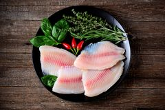 Fresh raw fillet of tilapia fish with thyme, rosemary, basil and chili pepper. Food Royalty Free Stock Photos