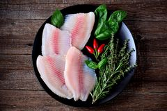 Fresh raw fillet of tilapia fish with thyme, rosemary, basil and chili pepper. Food Royalty Free Stock Image