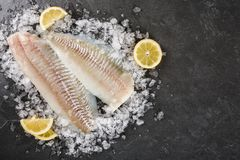 Fresh raw fillet white fish Pangasius with spices on ice over dark stone background.  Seafood, top view, flat lay, copy space.  stock photography