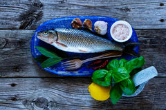 Fresh raw fish. Blue chopping board with raw fish, lemon, herbs and spices for cooking over rustic wooden background, top view, copy space Stock Images