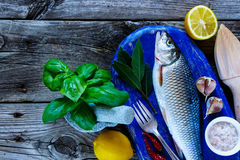 Fresh raw fish. Blue wooden chopping board with raw fish, lemon, herbs and spices for cooking over rustic background, top view, copy space Royalty Free Stock Photography