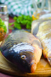 Fresh raw fish carp. On a wooden board in the kitchen Stock Image