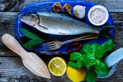 Fresh raw fish. Close up of blue chopping board with fresh raw fish, lemon, herbs and spices for cooking over rustic wooden background, top view Stock Photography