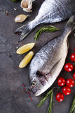 Fresh raw fish. Fresh raw dorada or sea bream fish with lemon, greens, rosemary tomatoes and spices on a black background, flat lay Stock Image