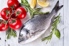 Fresh raw fish dorado. Fresh raw sea fish, decorated with lemon slices, herbs and tomatoes on a white wood background. Concept of healthy eating, top view Royalty Free Stock Image