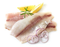 Fresh raw fish fillet. Fresh raw bream fish fillets with onions and lemon slices isolated on white background Royalty Free Stock Images