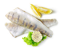 Fresh raw fish fillet. Fresh raw perch fish fillets isolated on white background Royalty Free Stock Photos