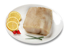 Fresh raw fish fillet on a plate with lemon isolated white backg. Fresh raw fish fillet on a plate with lemon isolated Stock Images