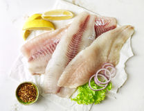 Fresh raw fish fillets. Fresh raw bream and seabass fish fillets, top view Royalty Free Stock Photo
