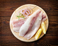 Fresh raw fish fillets. Fresh raw bream fish fillets, top view Royalty Free Stock Photos