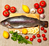 Fresh raw fish and food ingredients on table Stock Images