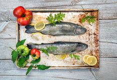 Fresh raw fish and food ingredients on table Stock Photography