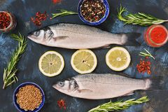 Fresh raw fish and ingredients for cooking - lemon, rosemary, bell pepper, sumac, coriander, paprika. Raw fish on a blue backgroun. D. Top view Stock Image