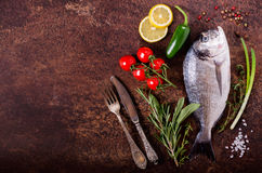 Fresh raw fish with lemon, herbs, onion, paprika, cherry tomatoes, onion, salt on rustic background. Fresh raw fish with lemon, herbs, onion, paprika, cherry Stock Photo