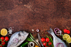 Fresh raw fish with lemon, herbs, onion, paprika, cherry tomatoes, onion, salt on rustic background. Healthy food concept. Free sp. Fresh raw fish with lemon Royalty Free Stock Photo