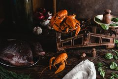 Fresh raw fish and lobsters on vintage scales with herbs and vegetables. Close-up view of fresh raw fish and lobsters on vintage scales with herbs and vegetables Stock Image