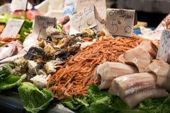 Fresh raw fish on the market. Raw fresh seafood market prices Stock Image
