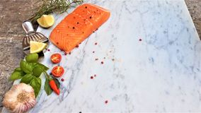 Fresh raw fish salmon, on white marble background stock image