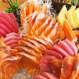 Fresh raw fish sashimi set. Close up fresh raw fish sashimi set in the restaurant Stock Photography