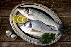 Fresh raw fish seabass and Dorado on an iron vintage tray and an old wooden background. Tasty food Royalty Free Stock Photography