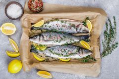 Fresh raw fish seabass. Is ready for baking with lemon, thyme, sea salt and pink pepper. Prepare a gourmet dinner. Selective focus Royalty Free Stock Photos