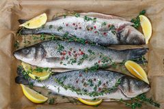 Fresh raw fish seabass. Is ready for baking with lemon, thyme, sea salt and pink pepper. Prepare a gourmet dinner. Selective focus Stock Photos