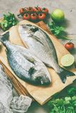 Fresh raw fish, tomatoes, lime, parsley on grey concrete background. Toned Stock Photos