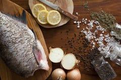 Fresh raw fish. On tray Stock Photos