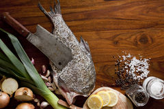 Fresh raw fish. On tray Royalty Free Stock Photo