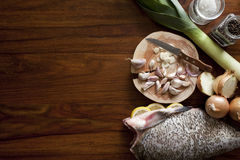 Fresh raw fish. On tray Stock Images