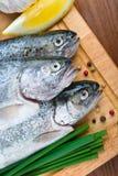 Fresh raw fish trout with lemon Stock Photos
