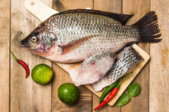 Fresh raw fish on the wood.  Stock Image