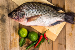 Fresh raw fish on the wood.  Royalty Free Stock Images