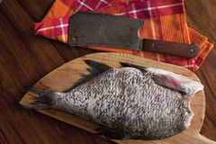 Fresh raw fish. On wooden cutting board Stock Photos