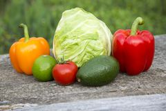 Fresh raw food on wooden table. Side view Stock Photo