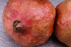 Fresh raw fruit pomegranate on table. With grey table cloth,macro photografy Stock Image