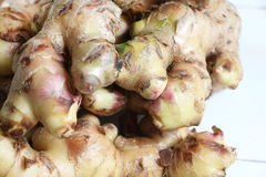 Fresh, raw ginger root. Close up of ginger root on white  background Stock Image