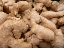 Fresh raw ginger roots in a shop. Detail of fresh raw ginger roots in a shop Stock Photos