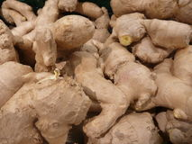 Fresh raw ginger roots in a shop. Detail of fresh raw ginger roots in a shop Royalty Free Stock Images