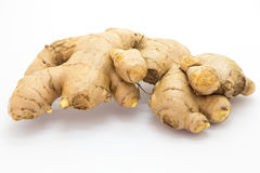 Fresh raw ginger on white. Background Stock Images
