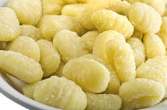 Fresh raw gnocchi. Fresh raw potato gnocchi closeup Royalty Free Stock Images