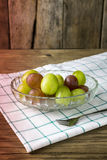 Fresh raw grape on wooden table. Closeup Royalty Free Stock Photo