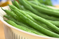Fresh Raw Green Beans. Sprinkled with water in white plastic strainer (Selective Focus, Focus on the bean one third into the strainer Royalty Free Stock Photography