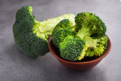 Fresh raw green broccoli. On a table. Diet healthy product Royalty Free Stock Images